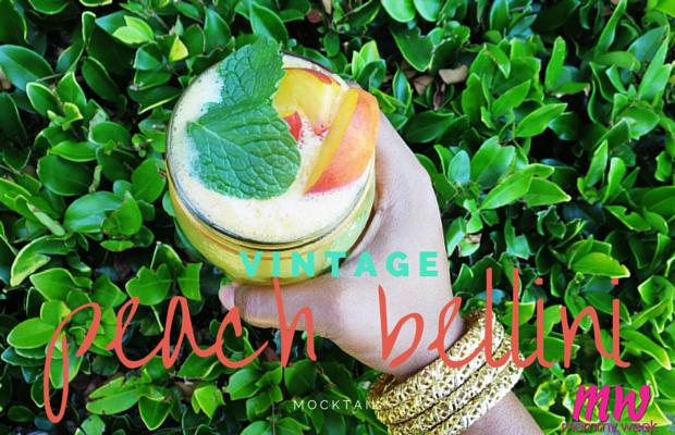 Vintage Peach Bellini Mocktail